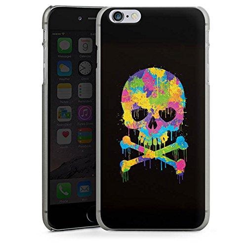 Apple iPhone X Silikon Hülle Case Schutzhülle Skull Watercolour Totenkopf Schädel Hard Case anthrazit-klar