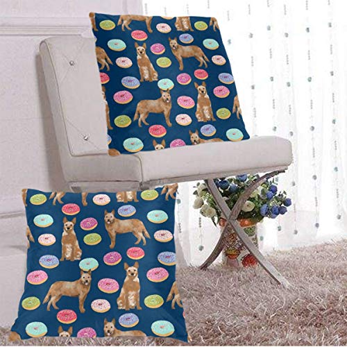 Euro-square-kissen (BetterShopDay Pack of 2 Decorative Outdoor Waterproof Cover Australian Cattle Dog Donuts Donuts Dog Donut Food Cute Dog Pet Friendly Red Heeler Navy Square Pillow Cushion Case Multiple Sizes)