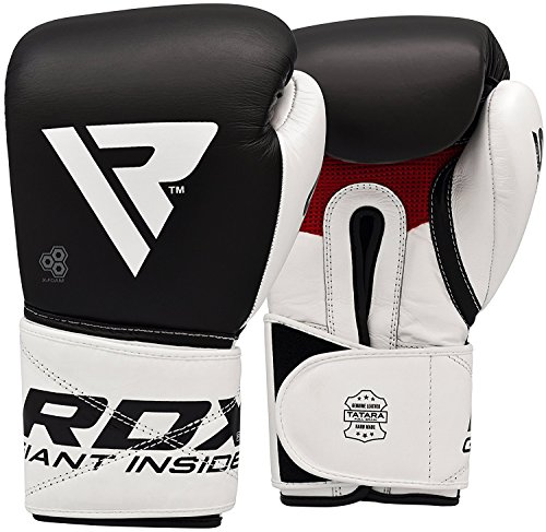 RDX Boxhandschuhe für Muay Thai und Training | Rindsleder Punchinghandschuhe für Kickboxen, Kampfsport, Sparring, Boxsack Punching, Fitness, MMA, Sandsack Boxing Gloves (MEHRWEG) -
