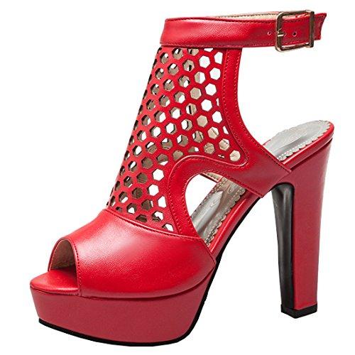 Artfaerie Damen Blockabsatz High Heels Plateau Sandalen Peeptoes Slingback Pumps mit Riemchen und Cut Out Sommer Mode Schuhe