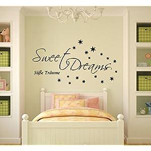 Sweet Dreams Wandtattoo Schlafzimmer Sticker für die Wand Raufaser geeignet (Weiss, 60cm x 32cm)