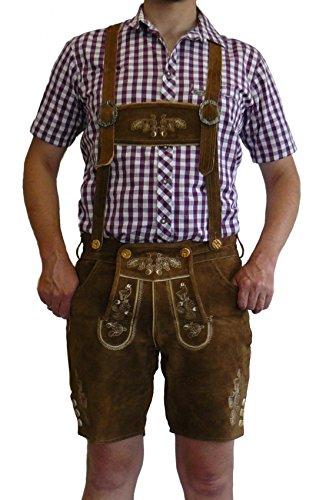 Herren Trachtenlederhose braun, kurz, mit Hosenträgern LHK-BR - 50