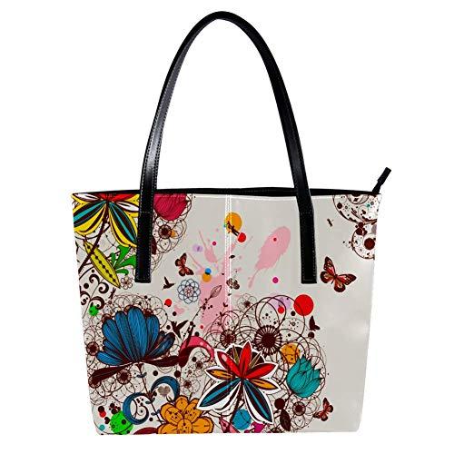 Women's Bag Shoulder Tote handbag with Creative Vintage Floral Butterfly print Zipper Purse PU Leather Top-handle Zip Bags -