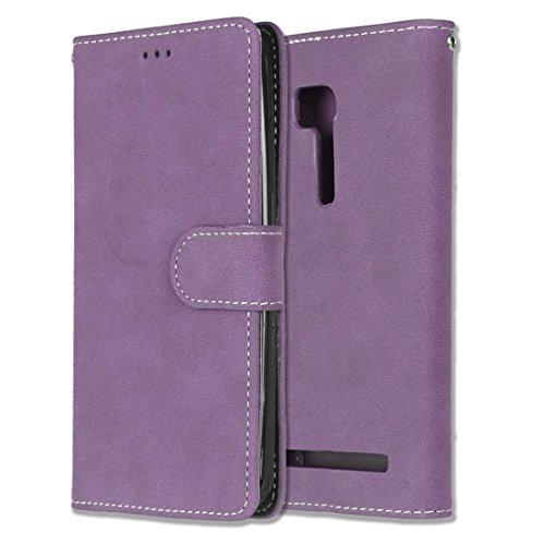 Asus Zenfone GO ZB551KL Hülle, Chreey Matt Leder Tasche Retro Handyhülle Magnet Flip Case mit Kartenfach Geldbörse Schutzhülle Etui [Lila]