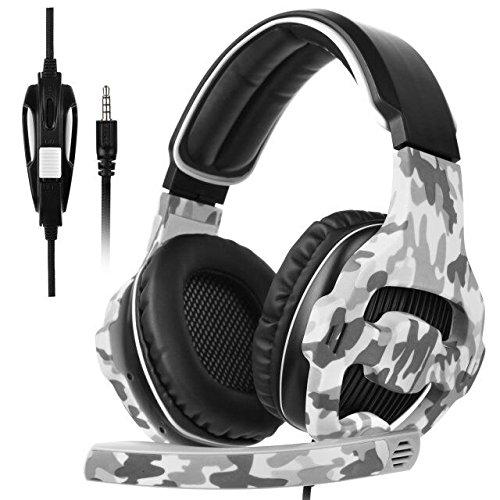 SADES SA810 Nuevo actualizado Xbox One micrófono PS4 auriculares sobre el oído estéreo auriculares de juegos auriculares de juego bajo con micrófono de aislamiento de ruido para Xbox One PC PS4 nuevo teléfono portátil (camuflaje)