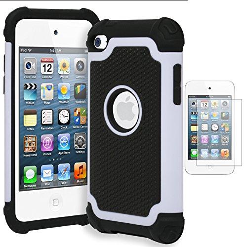 Bastex Hybrid Armor stoßfest Schutzhülle für Apple iPod Touch 4, 4. Generation • Creme Weiß & Schwarz (inkl. Displayschutzfolie)