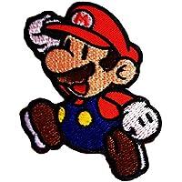 4,2x6cm Aufnäher Bügelbild Pilz Gemüse Super Mario blau//rot