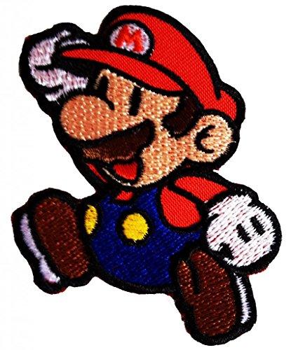Super Mario Springen Fliegen Mario Bros Mario Kart Mario Videospiel-Figur Comic Kinder SuperMario Patch ''6,5 x 7,5 cm'' - Aufnäher Aufbügler Applikation Applique Bügelbilder Flicken Embroidered Iron on Patches (Bros Tuch Mario)