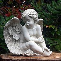 Garden Angel Cherub, polyresin, antique stone colour