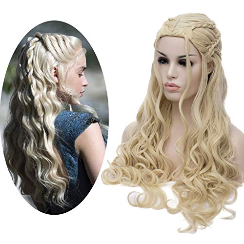 Perücke Damen Cosplay Game of Thrones Daenerys Targaryen Zöpfen Geflochten Lang Locken wellig Perücken Wig DE014A
