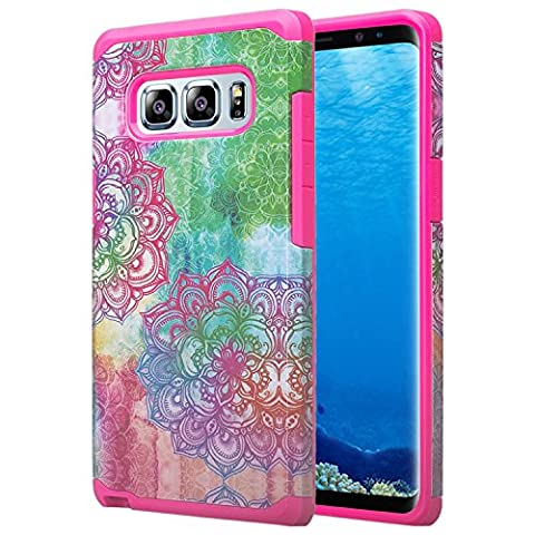 Wydan Samsung Galaxy Note 8 Case - Slim Hybrid Shockproof Hard Tpu Phone Cover - Teal Flower