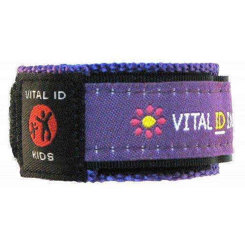 Erkennungs-Armband für Kinder, Armband für Kontakt-, Krankheits- und Allergie-Informationen sowie Mobilfunknummer, ergänzbar, wasserdicht, verstellbar (in englischer Sprache), violett