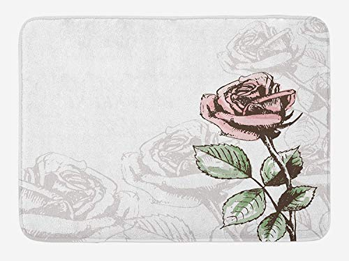 PdGAmats Rose Bath Mat, Victorian Antique Design Sketchy Stem with Blossom and Faded Flourish 23.6 W X 15.7W Inches - Victorian Rose Bath