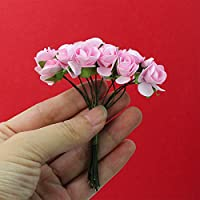 DDG EDMMS Mini Paper Rose Set of 144 PCS Artificial Rose Flower 1.5cm for for Wedding Party Home Garden Decor Craft DIY Pink Small Fake Rose