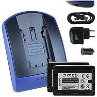 2 Batterie + Caricabatteria (USB/Auto/Corrente) per VW-VBT190 / Panasonic HC-V500, V510, V520, W850M, W858, WX979... - v. lista - con Infochip 100% decodificato - Twin Cam Auto