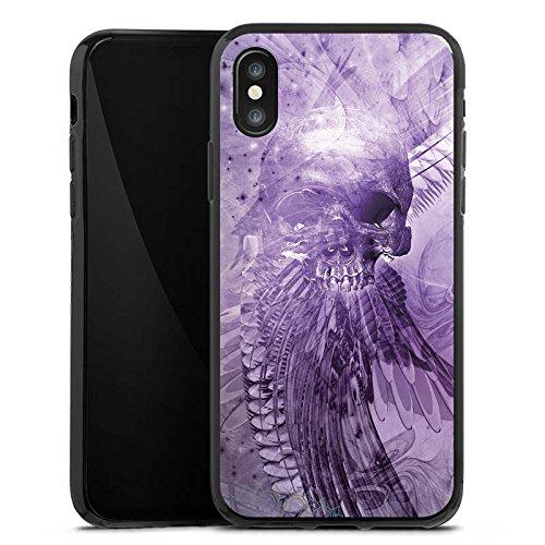 Apple iPhone X Silikon Hülle Case Schutzhülle Skull Totenkopf Lila Silikon Case schwarz