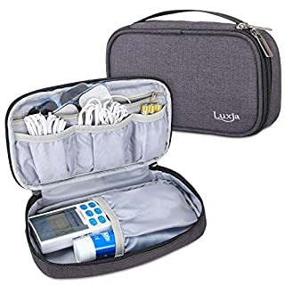 Luxja Carrying Case for Dual Tens Machine, Storage Bag Compatible with Tens Muscle Stimulator Med-Fit 1, Tote Bag for Pain Relief Machine (Empty Case Only and Fits for Most Brands), Black