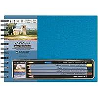 Set matite acquerello, colore: turchese, formato libro–Bianco Carta con 5matite acquerellabili, spugna e 1pennello