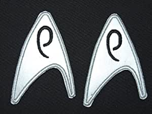 Star Trek Engineering Crew Patch set , 2 Iron-On Patches - Metallic Silver