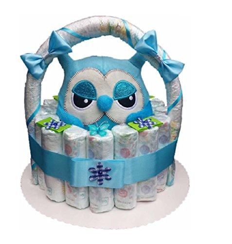 Windeltorte, Korb aus Windeln blau, Geburt, Taufe, Geschenk für Jungen, Baby Party, Pampers Gr.3, Kuscheltier-Eule