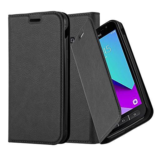 Cadorabo Hülle für Samsung Galaxy Xcover 4 - Hülle in Nacht SCHWARZ - Handyhülle mit Magnetverschluss, Standfunktion & Kartenfach - Case Cover Schutzhülle Etui Tasche Book Klapp Style