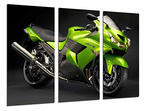 Quadro su Legno, Moto Kawasaki Verde, Strada, Motociclista, 97 x 62cm, Stampa in qualita Fotografica. Ref. 26691