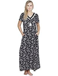 0346944b0a Patrorna Cotton Cotton Silk Blend Women s Lace Trim Shift Nighty Night  Dress Gown in Black Print (Size S-7XL