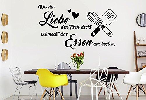 tjapalo® s-pkm364 Wandtattoo Küche Wandtattoo wo die Liebe den Tisch deckt schmeckt das Essen am besten (B58 x H30 cm)