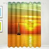 Fenster Vorhang, 2Felder Luxus Meer Abend Sonnenuntergang Scape Print isoliert Dick Super Soft Polyester Stoff Home Decor mit Öse für Schlafzimmer Wohnzimmer Badezimmer Küche 213,4x 139,7cm