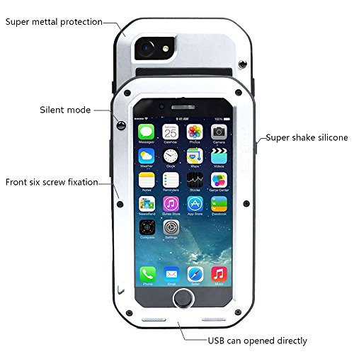 iPhone 7 Hülle Case, Feitenn Full Body Rugged Slim Heavy Duty Armor Aluminum Metal Shockproof Scratch Resistant Dual Layer TPU Protective Bumper Case Cover for Apple iPhone 7 4.7 Zoll (iphone 7, Rot) Weiß