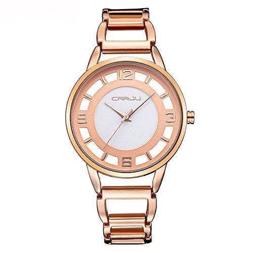 Forepin® Orologio da Polso per Donna in Quarzo Acciaio inossidabile(Rose Gold)