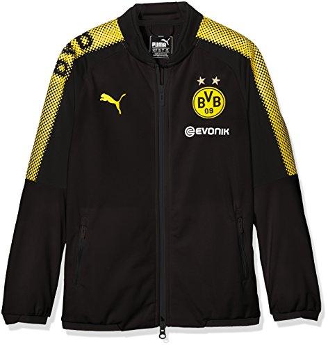 Puma Kinder BVB Poly Jacket Sponsor Logo 2 Side Pockets with z Jacke Black-Cyber Yellow, 164