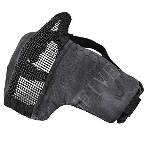 QMFIVE Tactical Maske, Stahl Halbmaske und verstellbare elastische Band Faltbare Half Face Maske Schutzmaske Maske für Airsoft Paintball CS(Typhon Kryptek(TYP))
