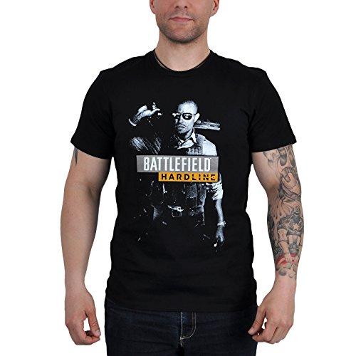 Battlefield - T-shirt tratta dal videogioco per PC con motivo Hardline - Grande motivo - Licenza ufficiale - Nero - L