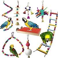 Giochi per uccelli pappagalli, PietyPet 8 Pezzi Trespoli e posatoi Giocattoli Gabbia, Colorato legno Scalette giocattolo, Corda Perch per Piccoli e Medio uccelli Parrocchetti