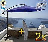 2 Stück PREMIUM XXL Ampelschirm 300 cm, 6-teilig, blau, 6 Streben, 3x3m, robustes ca. 200 g/m² Polyester, Sonnenschirm inkl. Schirmhülle UV50+ KOMPLETT mit Standkreuz, Standfuß + ca. 50 mm Mast, blau, Überdach, Schirm Strandschirm, stabiler Gartenschirm, faltbarer Sonnenschirm - dunkelblau, hell dunkel, cyan marineblau Strandschirm, Sonnendach Regendach Vordach-Rädern, Schirm mit weichem Stoffbezug-extrem wetterfest, tragbar, Strandschirm, hochwertig robust stabil