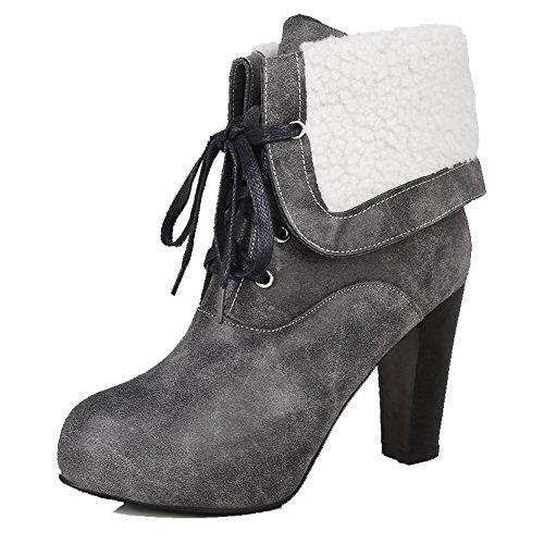 AllhqFashion Damen PU Leder Hoher Absatz Rund Zehe Schnüren Niedrig-Spitze Stiefel, Weiß-Knoten, 36