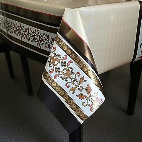 Fanjow® Nappe en vinyle salle à manger Nappe en PVC Heavy Duty Housse de table étanche à l'eau aux Huiles anti-moisissures salle à manger Nappe facile à nettoyer, PVC, Blooming Flowers, 137cm*200cm/53.94