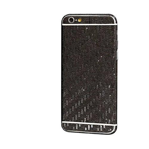 FAS1Neue Version Kristall Diamant Sparkling Body Bling Glitzer Aufkleber Skin Film Case für Apple iPhone 6/6S Plus 14cm, Champagnerfarben / goldfarben, Meteor Shower Style schwarz