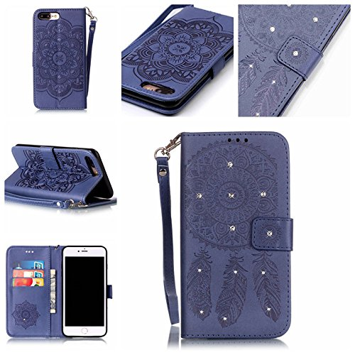 Funkeln Bling Kristall Rhinestone iPhone 7 Plus Hülle, Handy Tasche für Apple iPhone 7 Plus 5.5 zoll, Folie Stil Leder Case Brieftasche Case Karte Halter Farbig Taljereep Windbell Muster Drucken Lila