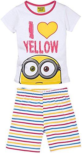 Minions® Kinder Mädchen Schlafanzug Shorty, 2-teilig (weiß, gelb, pink, blau - gestreift, Gr. 110/116) (Kinder Minion Anzug)