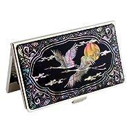 Porte-cartes de visite nacre Design Grue Lune Oiseaux