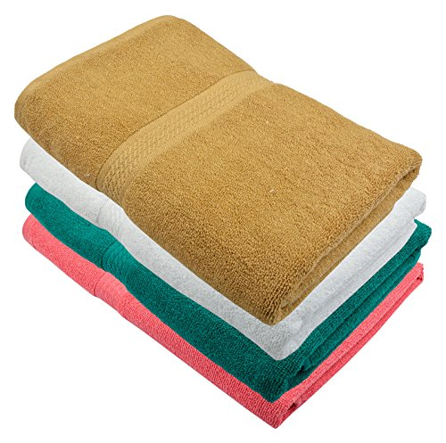 Fresh From Loom Bath Towel 450 GSM Fabric 100% Cotton (Size -27 x 54 inch, 4 Piece Multi-Color)