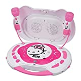 Hello Kitty KT2003CA CD Karaoke System/CD Player with AC Adapter, Built-in Speakers, 2x Mic Input, P