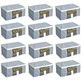 HomeStrap Non Woven Clothes/Saree/Storage Covers Bags with Window - Pack of 12 - Grey