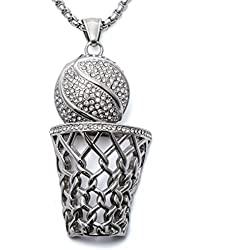 loveangel joyas Fantasía pesados Well Made baloncesto aro cadena colgante collar para las mujeres de regalo de cumpleaños fiesta adulto hombre