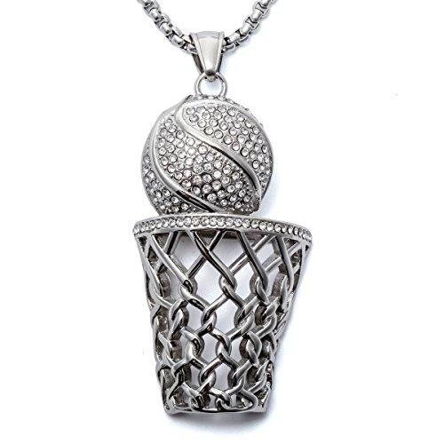 Loveangel Halskette, Unisex, Anhängerdesign: Basketball mit Korb, Lieferung mit 2 Ketten (50 cm / 60 cm)