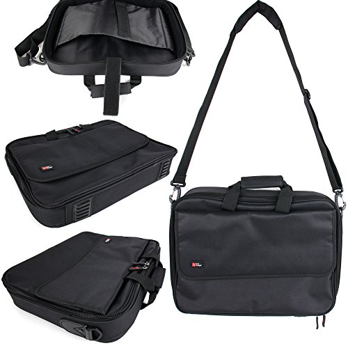 Black Laptop Briefcase Bag With Multiple Compartments for the Acer Chromebook 15 (CB5-571-C4G4) - by DURAGADGET