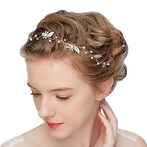 Dohuge Blumen Haarschmuck Vintage Braut Rebe Stirnbänder Strass Perlen Blumen Hochzeit Haarteile Hochzeit Stirnband Haarband Haarspangen Hochzeit Haarschmuck D201