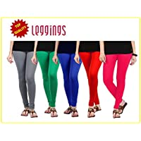 Combo of-5 Ultra Soft Cotton/Lycra Churidar Basic Solid Regular and Plus 30 types of pair Best Seller Leggings for Womens and Girl- Free Sizes Fit to waist between 26 Inch-34 Inch, GREY-GREEN-BLUE-RED-PINK